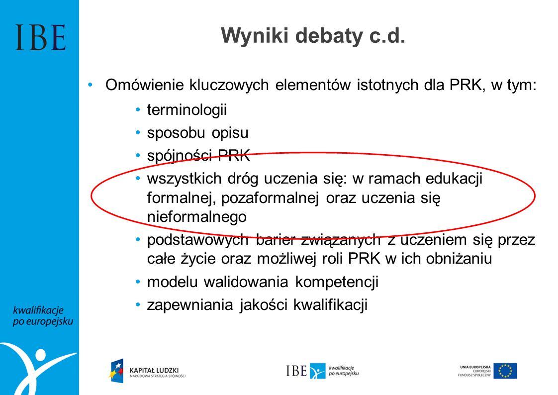 Wyniki debaty c.d. Omówienie kluczowych elementów istotnych dla PRK, w tym: terminologii sposobu opisu spójności PRK wszystkich dróg uczenia się: w ra
