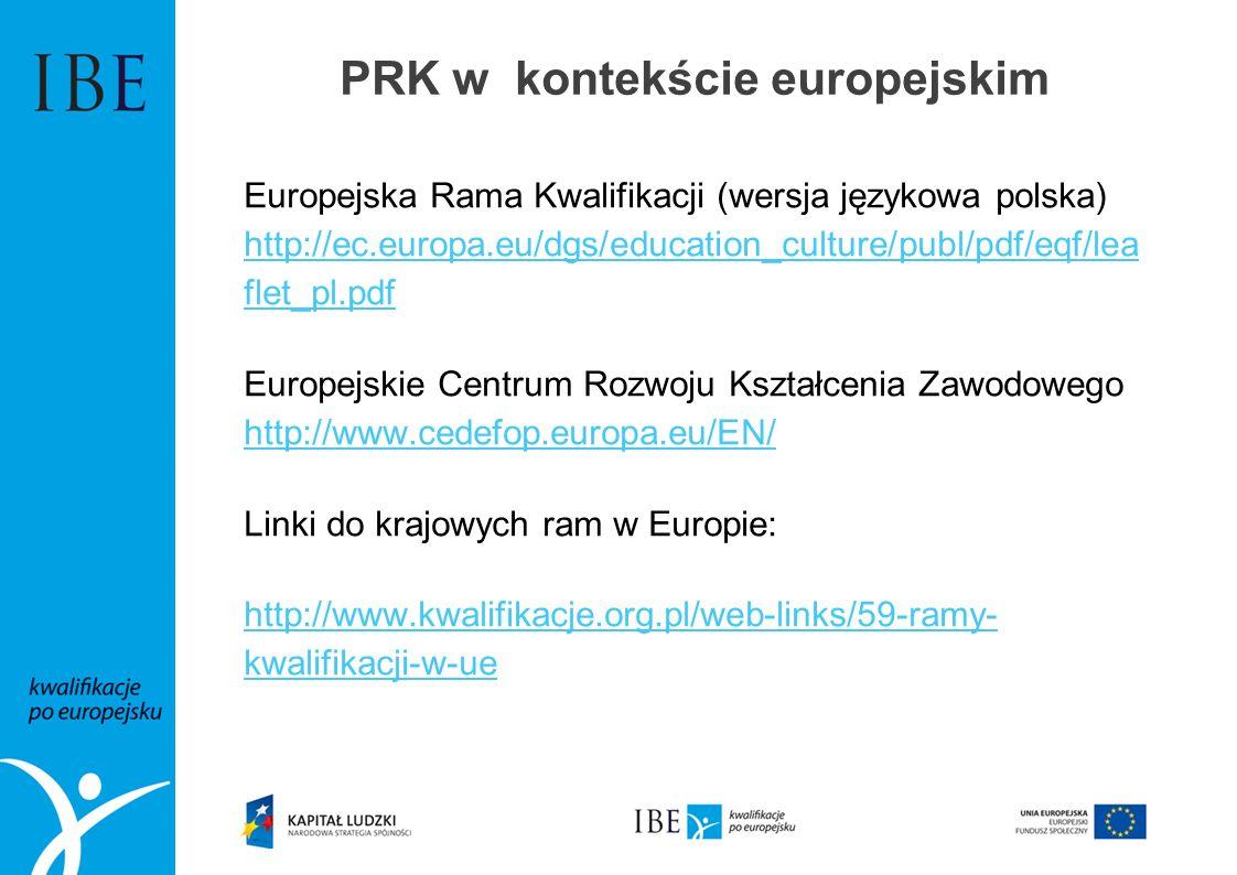 PRK w kontekście europejskim Europejska Rama Kwalifikacji (wersja językowa polska) http://ec.europa.eu/dgs/education_culture/publ/pdf/eqf/lea flet_pl.