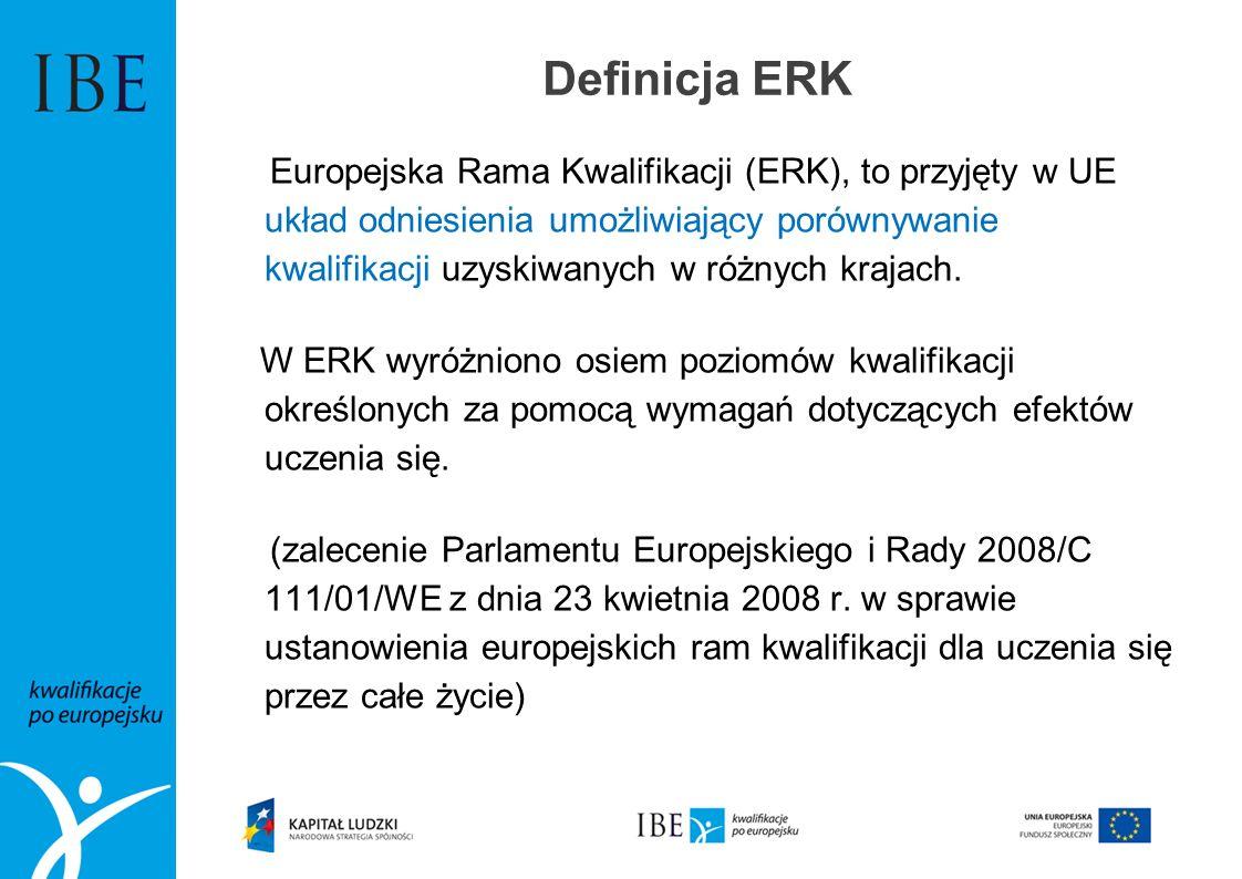 Definicja ERK Europejska Rama Kwalifikacji (ERK), to przyjęty w UE układ odniesienia umożliwiający porównywanie kwalifikacji uzyskiwanych w różnych kr