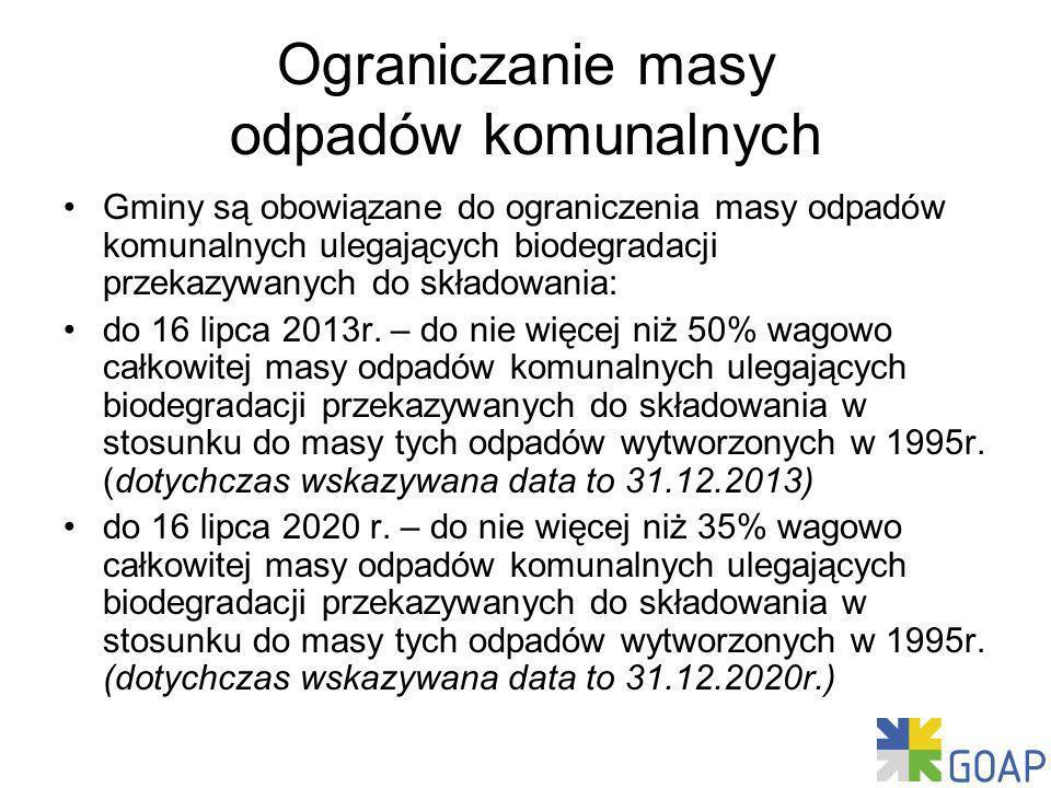 Ograniczanie masy odpadów komunalnych Gminy są obowiązane do ograniczenia masy odpadów komunalnych ulegających biodegradacji przekazywanych do składowania: do 16 lipca 2013r.