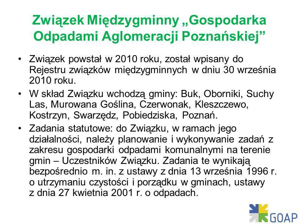 Związek Międzygminny Gospodarka Odpadami Aglomeracji Poznańskiej Związek powstał w 2010 roku, został wpisany do Rejestru związków międzygminnych w dniu 30 września 2010 roku.