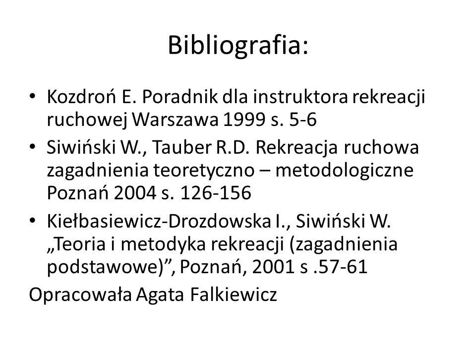 Bibliografia: Kozdroń E. Poradnik dla instruktora rekreacji ruchowej Warszawa 1999 s. 5-6 Siwiński W., Tauber R.D. Rekreacja ruchowa zagadnienia teore