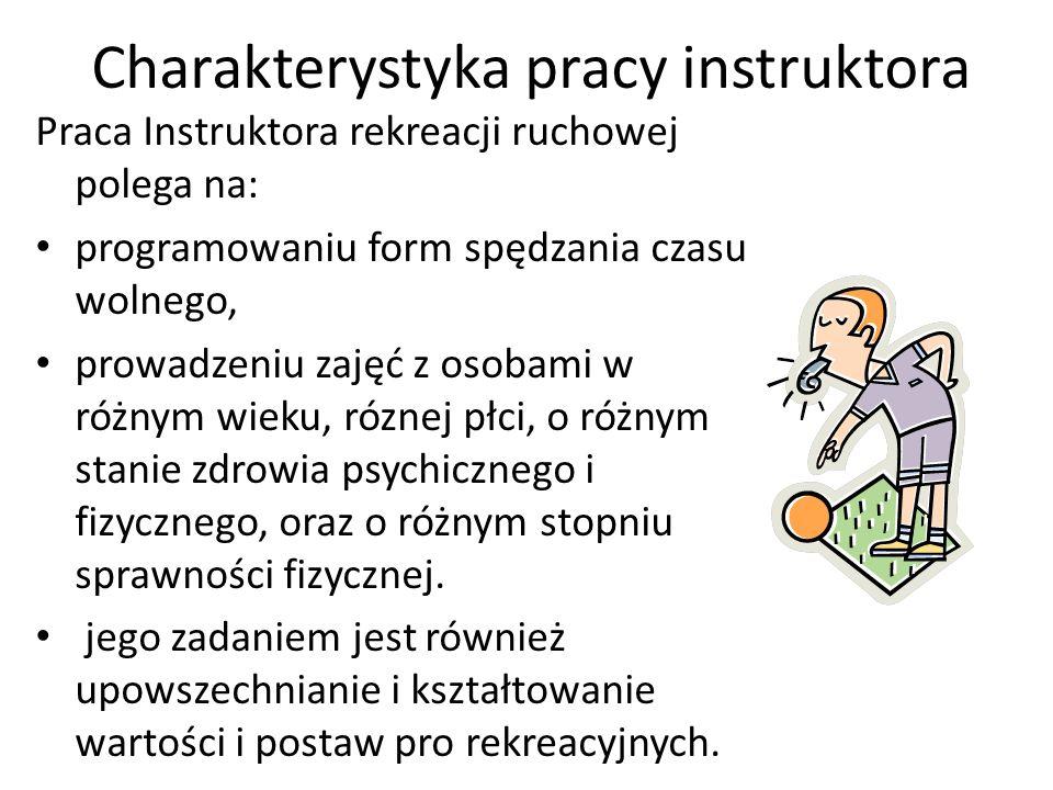 Charakterystyka pracy instruktora Praca Instruktora rekreacji ruchowej polega na: programowaniu form spędzania czasu wolnego, prowadzeniu zajęć z osob