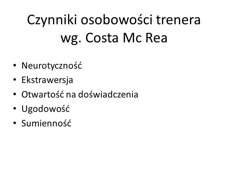 Czynniki osobowości trenera wg. Costa Mc Rea Neurotyczność Ekstrawersja Otwartość na doświadczenia Ugodowość Sumienność