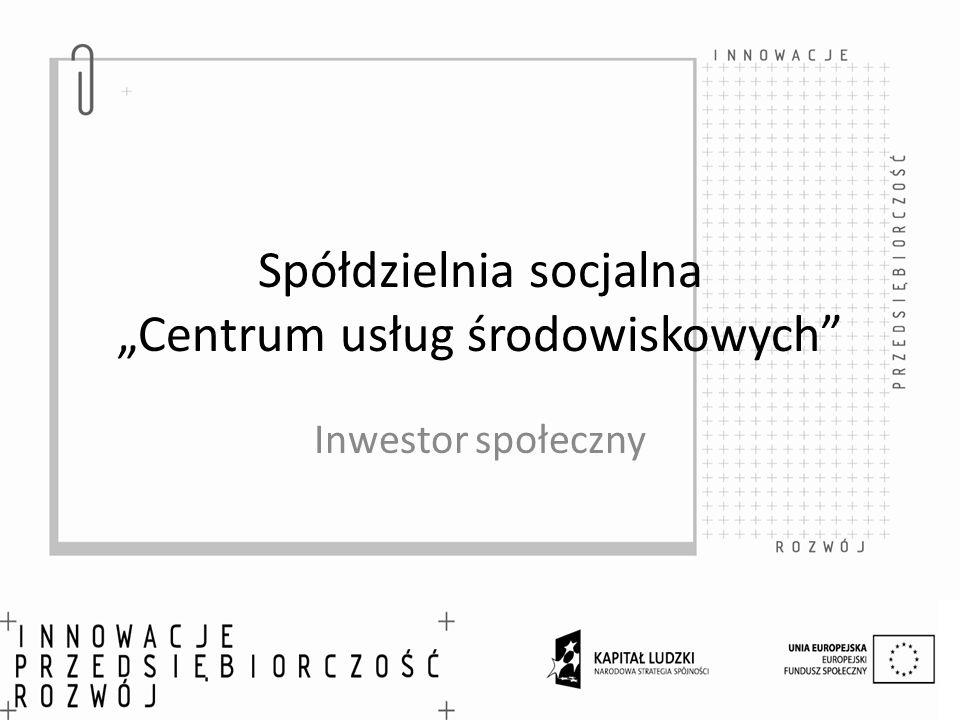 Spółdzielnia socjalna Centrum usług środowiskowych Inwestor społeczny