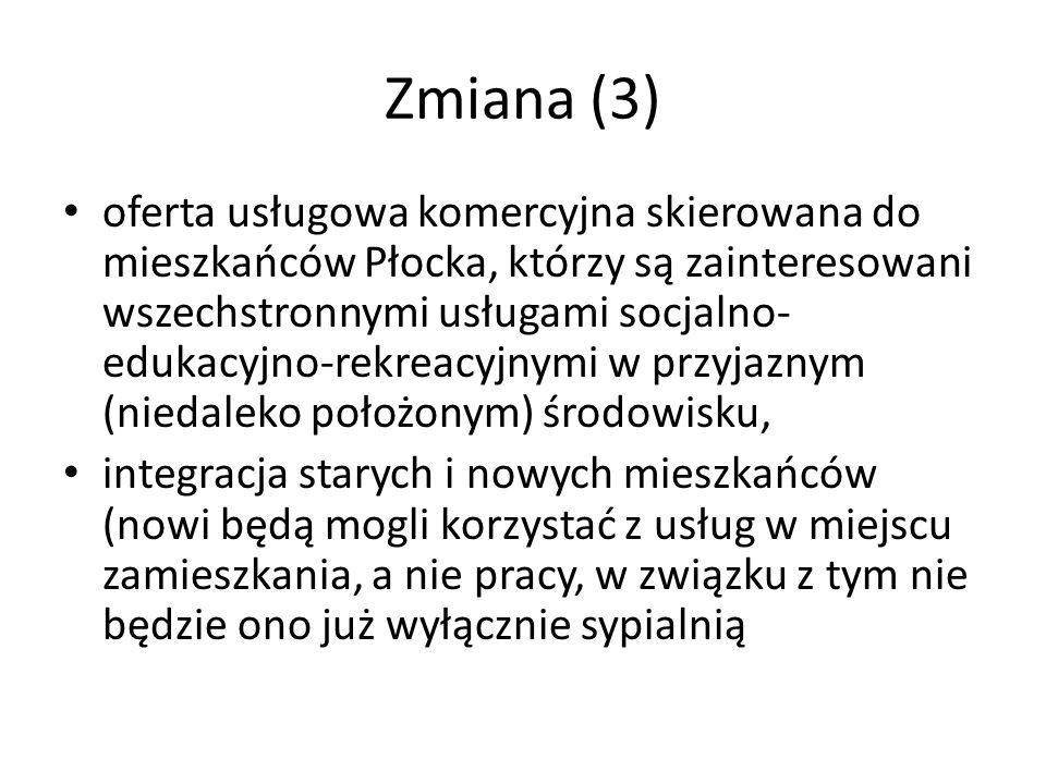 Zmiana (3) oferta usługowa komercyjna skierowana do mieszkańców Płocka, którzy są zainteresowani wszechstronnymi usługami socjalno- edukacyjno-rekreac