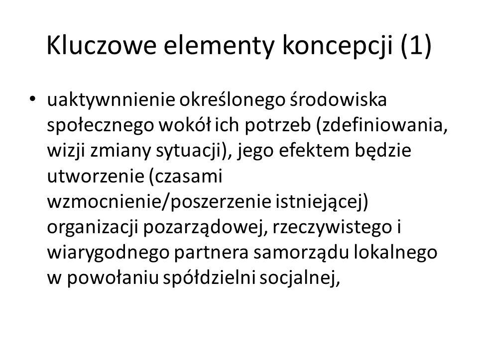 Kluczowe elementy koncepcji (1) uaktywnnienie określonego środowiska społecznego wokół ich potrzeb (zdefiniowania, wizji zmiany sytuacji), jego efekte