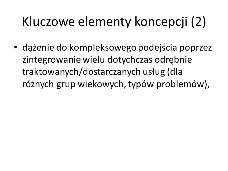 Kluczowe elementy koncepcji (2) dążenie do kompleksowego podejścia poprzez zintegrowanie wielu dotychczas odrębnie traktowanych/dostarczanych usług (d