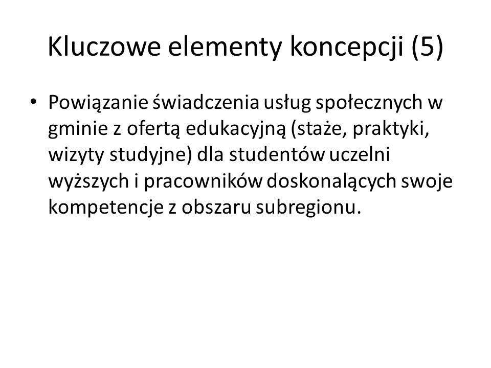 Kluczowe elementy koncepcji (5) Powiązanie świadczenia usług społecznych w gminie z ofertą edukacyjną (staże, praktyki, wizyty studyjne) dla studentów