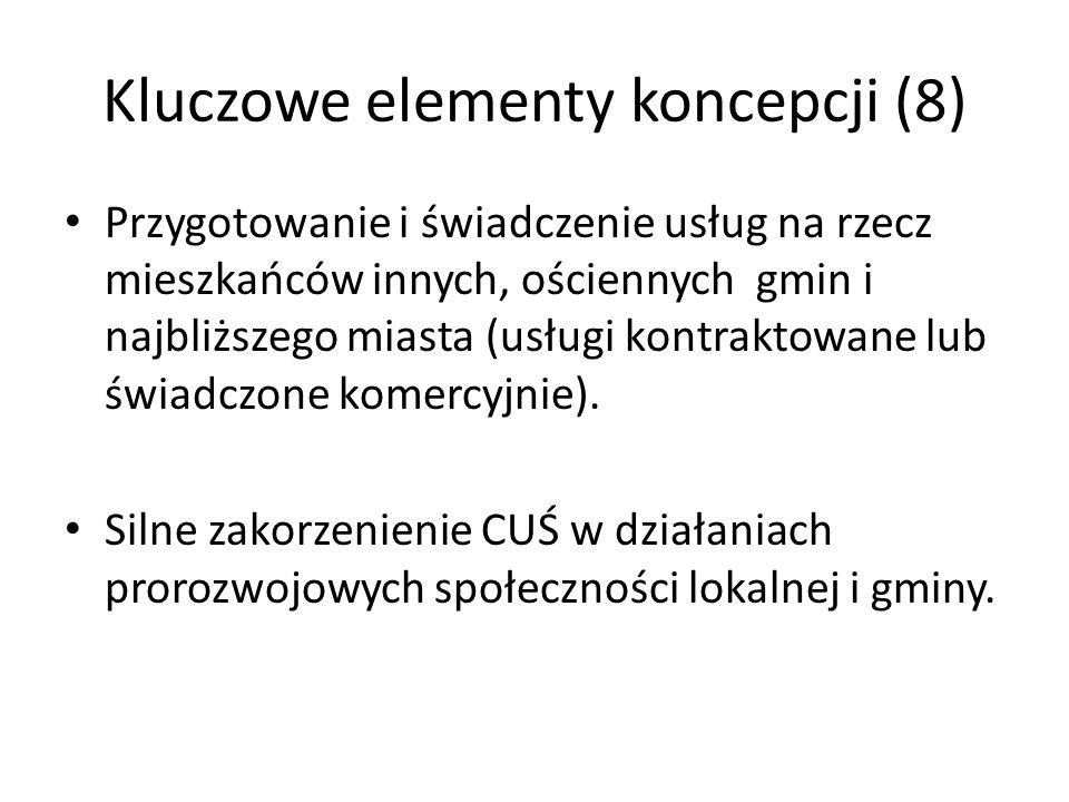 Kluczowe elementy koncepcji (8) Przygotowanie i świadczenie usług na rzecz mieszkańców innych, ościennych gmin i najbliższego miasta (usługi kontrakto