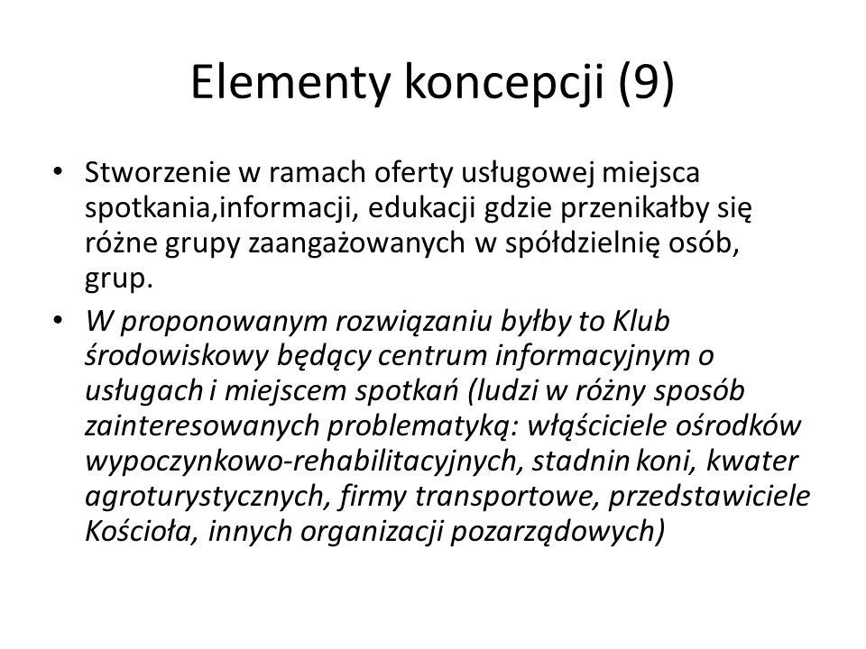 Elementy koncepcji (9) Stworzenie w ramach oferty usługowej miejsca spotkania,informacji, edukacji gdzie przenikałby się różne grupy zaangażowanych w