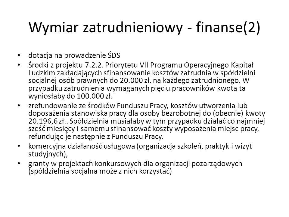Wymiar zatrudnieniowy - finanse(2) dotacja na prowadzenie ŚDS Środki z projektu 7.2.2. Priorytetu VII Programu Operacyjnego Kapitał Ludzkim zakładając