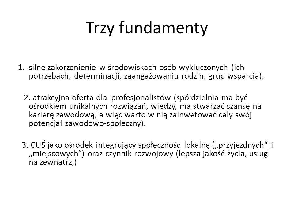 Trzy fundamenty 1.silne zakorzenienie w środowiskach osób wykluczonych (ich potrzebach, determinacji, zaangażowaniu rodzin, grup wsparcia), 2. atrakcy