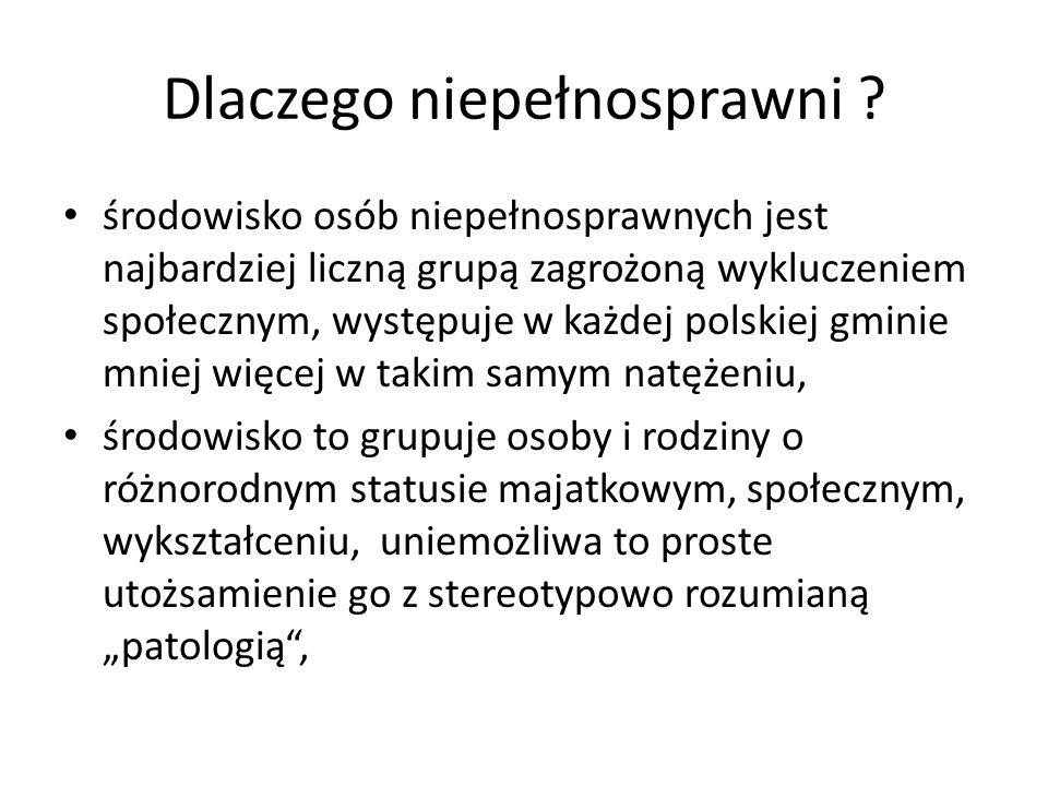 Dlaczego niepełnosprawni ? środowisko osób niepełnosprawnych jest najbardziej liczną grupą zagrożoną wykluczeniem społecznym, występuje w każdej polsk