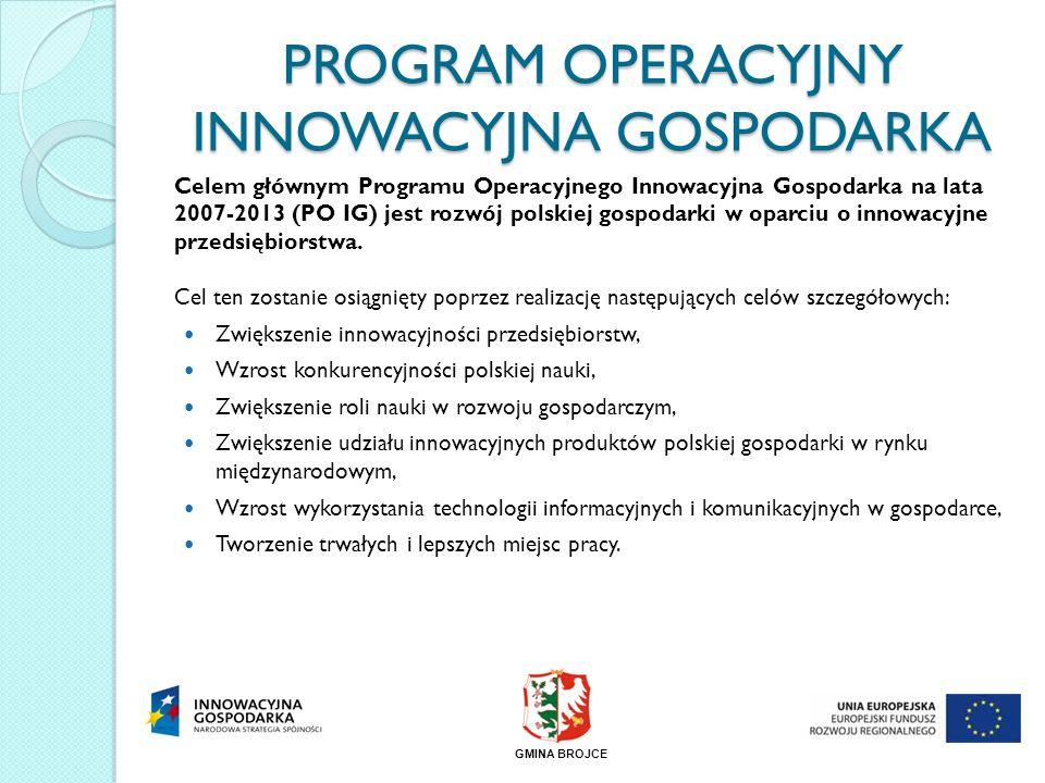 PROGRAM OPERACYJNY INNOWACYJNA GOSPODARKA Celem głównym Programu Operacyjnego Innowacyjna Gospodarka na lata 2007-2013 (PO IG) jest rozwój polskiej go