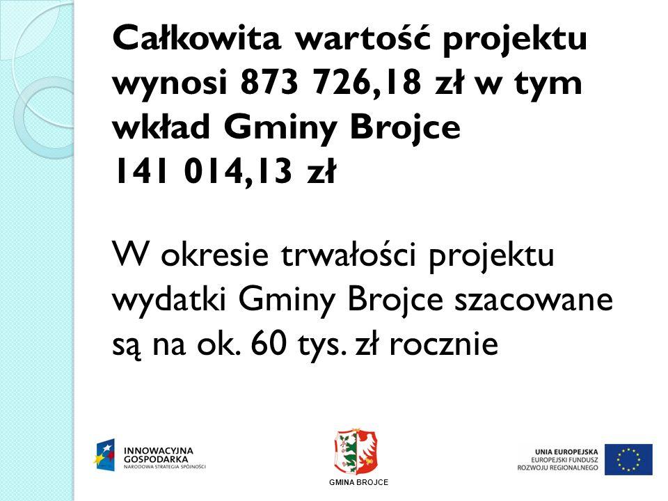 Całkowita wartość projektu wynosi 873 726,18 zł w tym wkład Gminy Brojce 141 014,13 zł W okresie trwałości projektu wydatki Gminy Brojce szacowane są