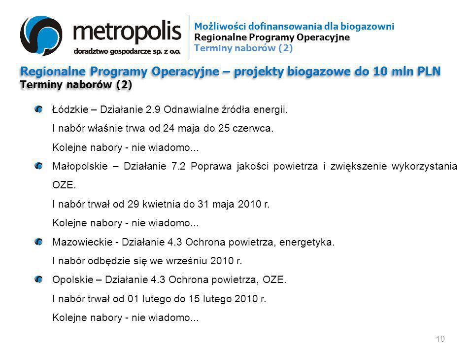 Regionalne Programy Operacyjne – projekty biogazowe do 10 mln PLN Terminy naborów (2) Regionalne Programy Operacyjne – projekty biogazowe do 10 mln PL