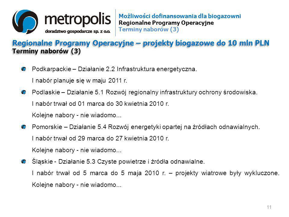 Regionalne Programy Operacyjne – projekty biogazowe do 10 mln PLN Terminy naborów (3) Regionalne Programy Operacyjne – projekty biogazowe do 10 mln PL