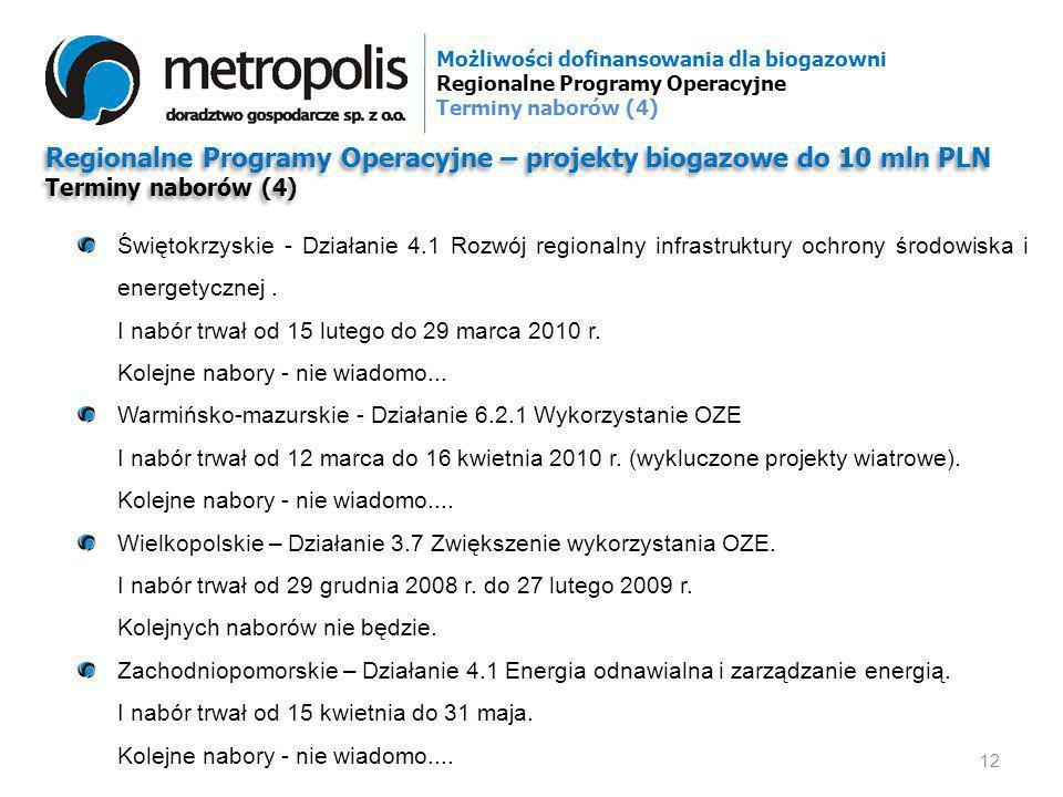 Regionalne Programy Operacyjne – projekty biogazowe do 10 mln PLN Terminy naborów (4) Regionalne Programy Operacyjne – projekty biogazowe do 10 mln PL