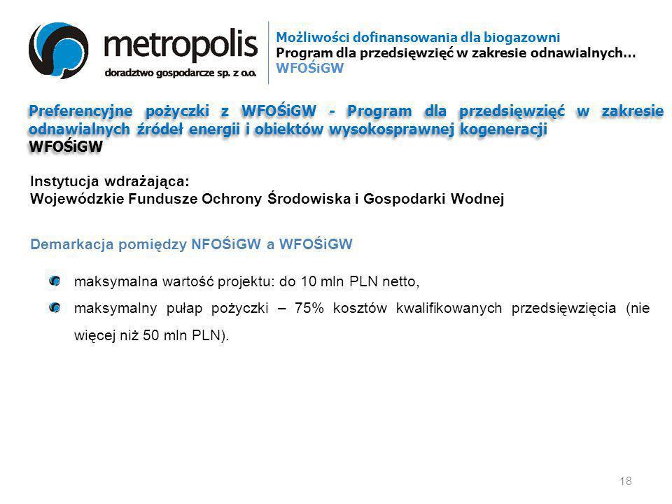 Preferencyjne pożyczki z WFOŚiGW - Program dla przedsięwzięć w zakresie odnawialnych źródeł energii i obiektów wysokosprawnej kogeneracji WFOŚiGW Pref