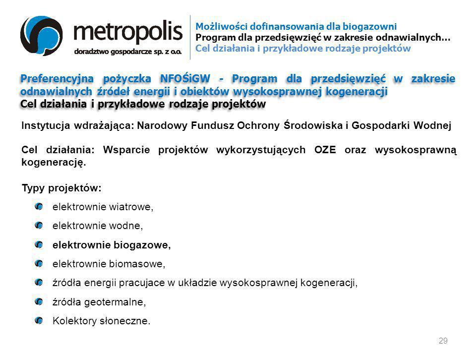 Preferencyjna pożyczka NFOŚiGW - Program dla przedsięwzięć w zakresie odnawialnych źródeł energii i obiektów wysokosprawnej kogeneracji Cel działania