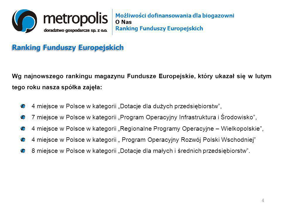 4 miejsce w Polsce w kategorii Dotacje dla dużych przedsiębiorstw, 7 miejsce w Polsce w kategorii Program Operacyjny Infrastruktura i Środowisko, 4 mi
