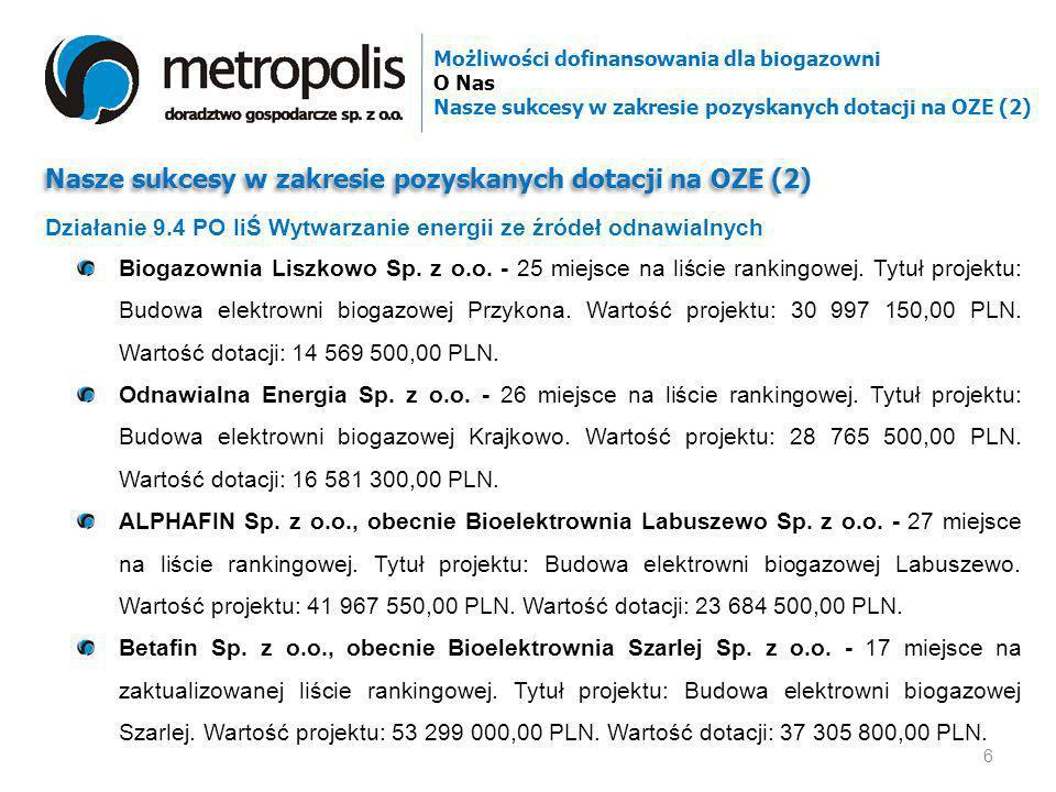 Nasze sukcesy w zakresie pozyskanych dotacji na OZE (2) Biogazownia Liszkowo Sp. z o.o. - 25 miejsce na liście rankingowej. Tytuł projektu: Budowa ele