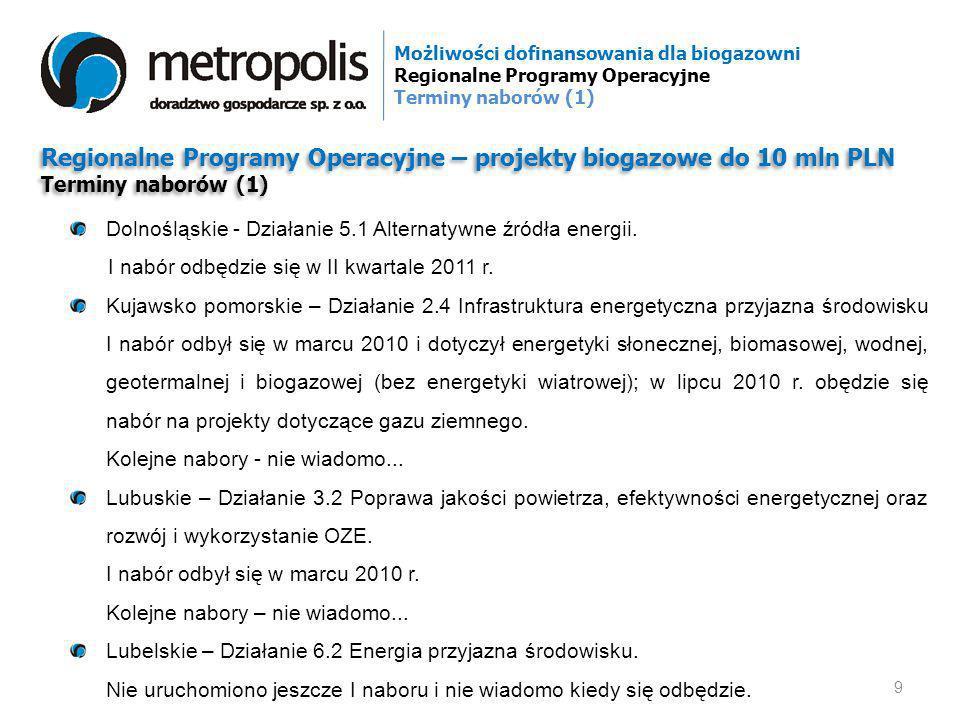 Regionalne Programy Operacyjne – projekty biogazowe do 10 mln PLN Terminy naborów (1) Regionalne Programy Operacyjne – projekty biogazowe do 10 mln PL