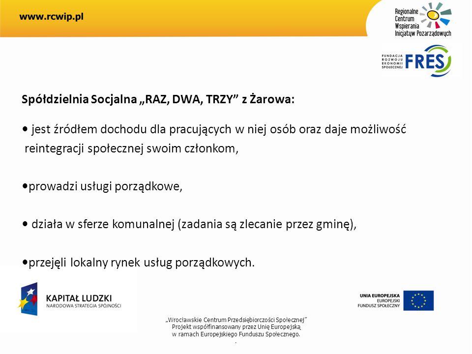 Wrocławskie Centrum Przedsiębiorczości Społecznej Projekt współfinansowany przez Unię Europejską w ramach Europejskiego Funduszu Społecznego.. Spółdzi
