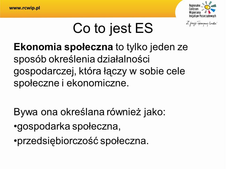 Co to jest ES Ekonomia społeczna to tylko jeden ze sposób określenia działalności gospodarczej, która łączy w sobie cele społeczne i ekonomiczne. Bywa