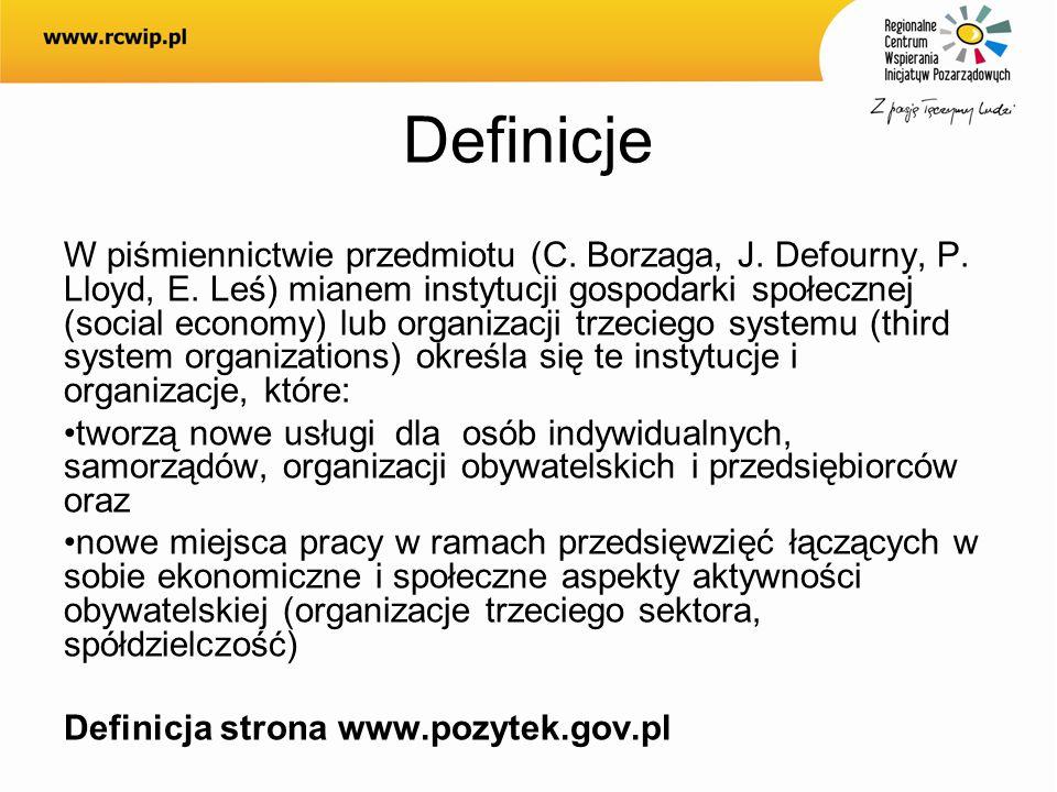 Definicje W piśmiennictwie przedmiotu (C. Borzaga, J. Defourny, P. Lloyd, E. Leś) mianem instytucji gospodarki społecznej (social economy) lub organiz
