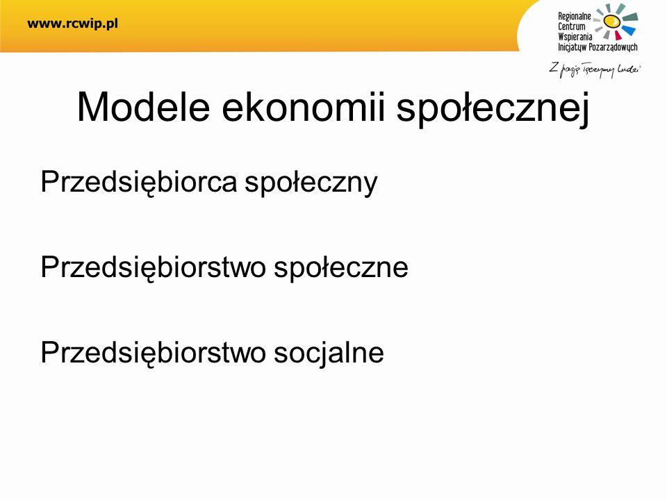 Modele ekonomii społecznej Przedsiębiorca społeczny Przedsiębiorstwo społeczne Przedsiębiorstwo socjalne