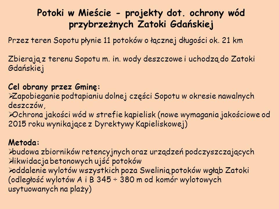 1 etap (koniec: 9.12.2009 r.): Układ wylotowy A – obszar od granicy z Gdańskiem do ulicy Na Wydmach – wyprowadzenie w sąsiedztwie istniejącego wylotu Potoku,,2.