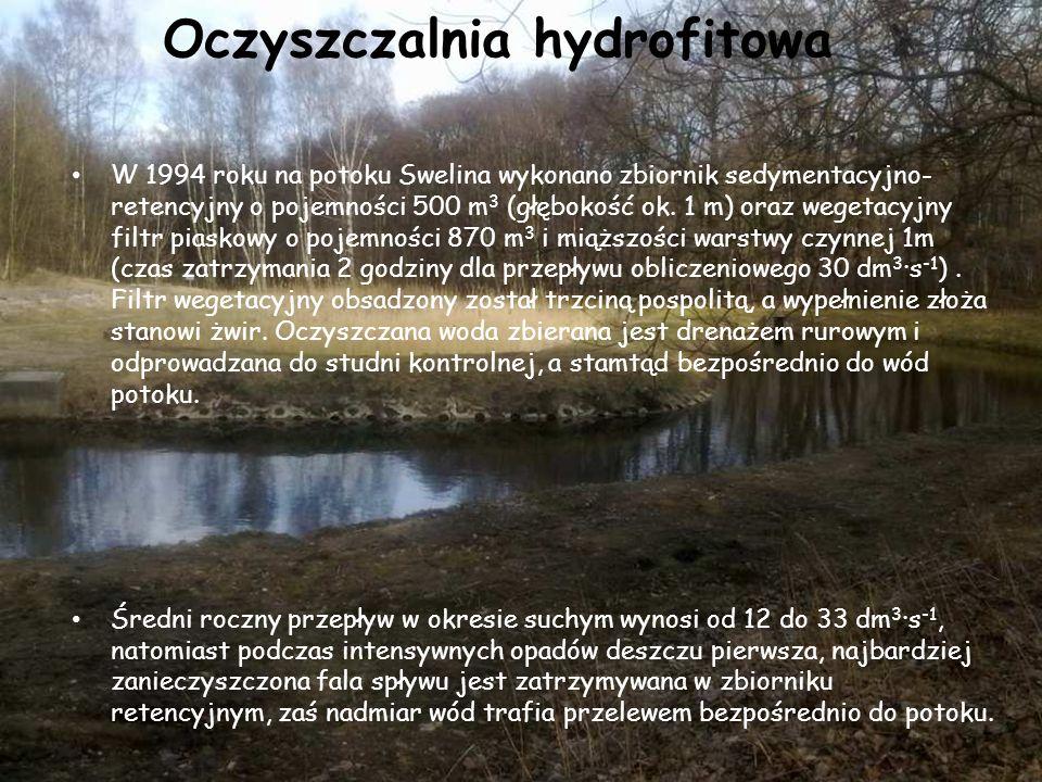 Oczyszczalnia hydrofitowa W 1994 roku na potoku Swelina wykonano zbiornik sedymentacyjno- retencyjny o pojemności 500 m 3 (głębokość ok. 1 m) oraz weg
