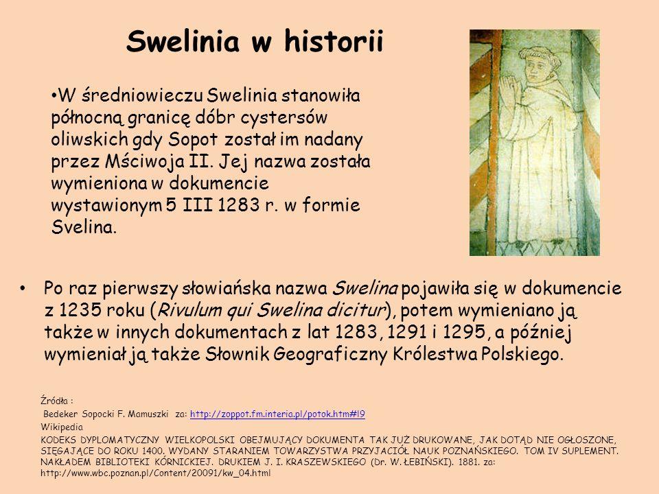 Swelinia w historii Po raz pierwszy słowiańska nazwa Swelina pojawiła się w dokumencie z 1235 roku (Rivulum qui Swelina dicitur), potem wymieniano ją