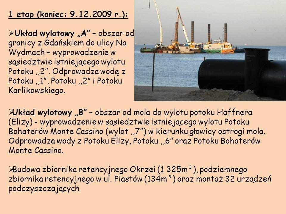 1 etap (koniec: 9.12.2009 r.): Układ wylotowy A – obszar od granicy z Gdańskiem do ulicy Na Wydmach – wyprowadzenie w sąsiedztwie istniejącego wylotu
