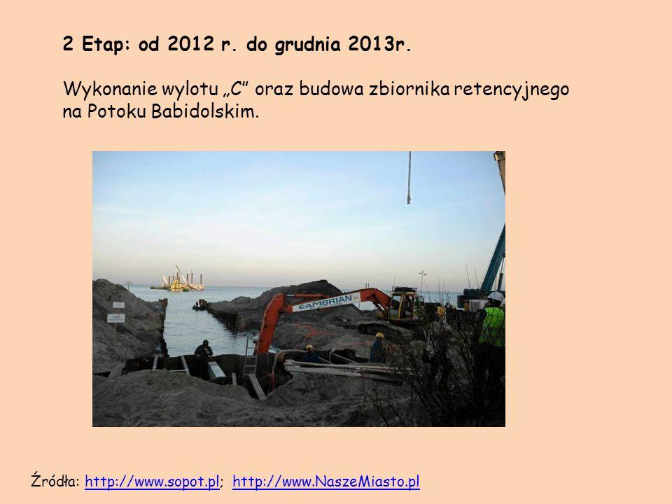 2 Etap: od 2012 r. do grudnia 2013r. Wykonanie wylotu C oraz budowa zbiornika retencyjnego na Potoku Babidolskim. Źródła: http://www.sopot.pl; http://