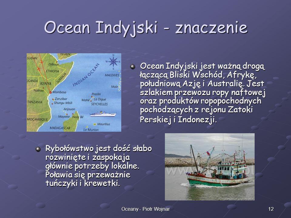 12Oceany - Piotr Wojnar Ocean Indyjski - znaczenie Rybołówstwo jest dość słabo rozwinięte i zaspokaja głównie potrzeby lokalne. Poławia się przeważnie