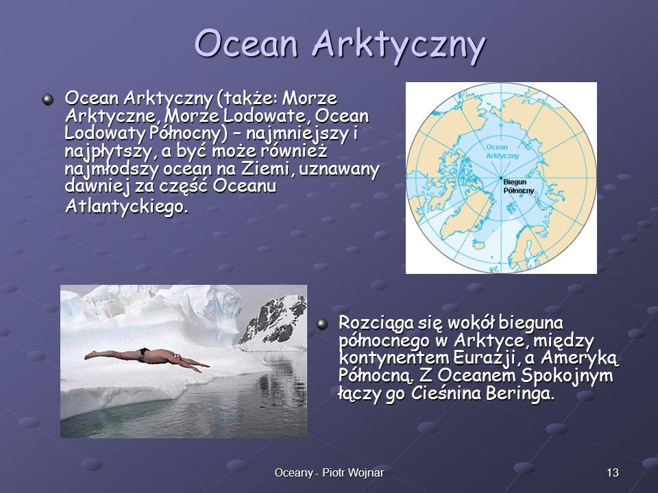 13Oceany - Piotr Wojnar Ocean Arktyczny (także: Morze Arktyczne, Morze Lodowate, Ocean Lodowaty Północny) – najmniejszy i najpłytszy, a być może równi