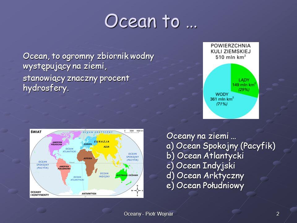 2Oceany - Piotr Wojnar Ocean, to ogromny zbiornik wodny występujący na ziemi, stanowiący znaczny procent hydrosfery. Ocean to … Oceany na ziemi … a) O