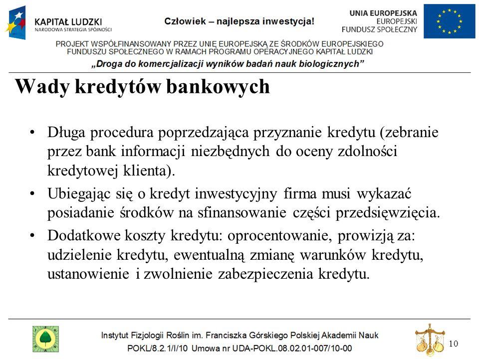 10 Wady kredytów bankowych Długa procedura poprzedzająca przyznanie kredytu (zebranie przez bank informacji niezbędnych do oceny zdolności kredytowej