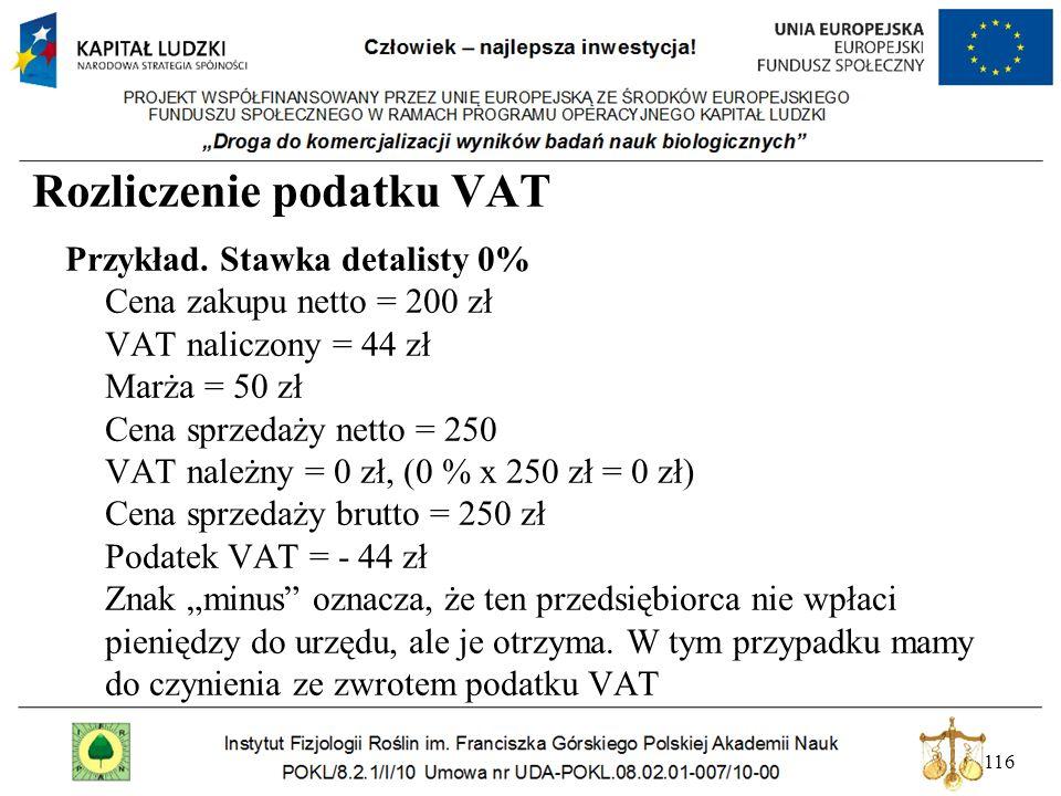 116 Rozliczenie podatku VAT Przykład. Stawka detalisty 0% Cena zakupu netto = 200 zł VAT naliczony = 44 zł Marża = 50 zł Cena sprzedaży netto = 250 VA