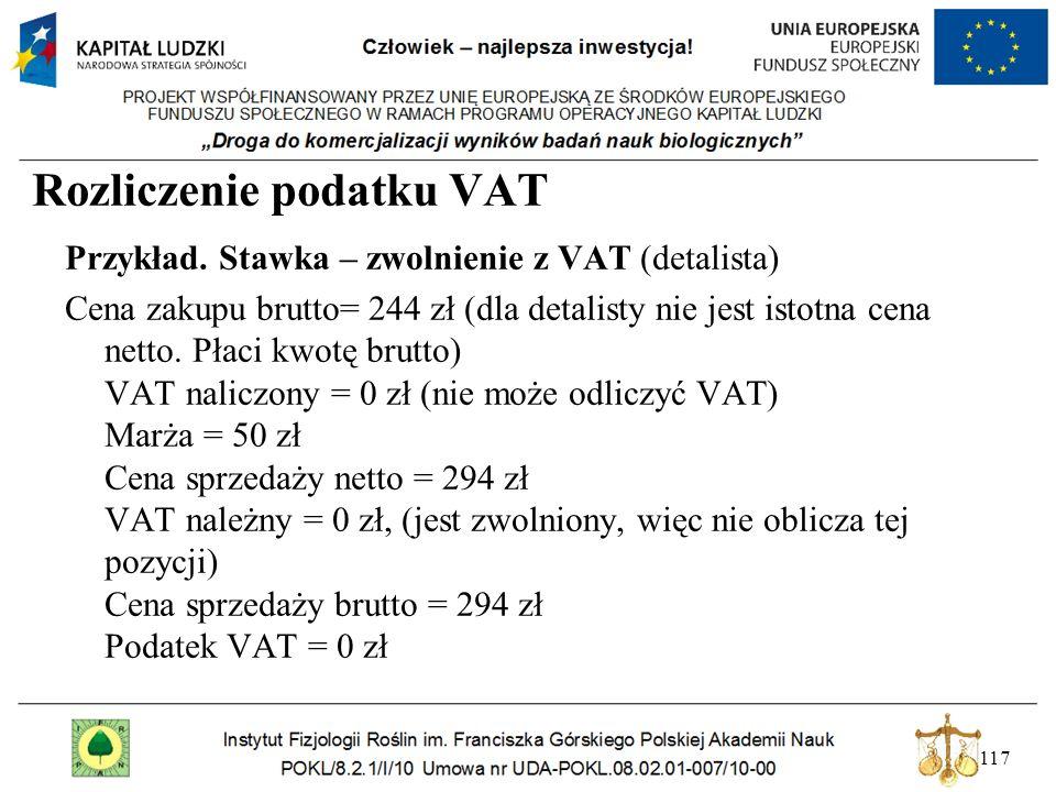 117 Rozliczenie podatku VAT Przykład. Stawka – zwolnienie z VAT (detalista) Cena zakupu brutto= 244 zł (dla detalisty nie jest istotna cena netto. Pła