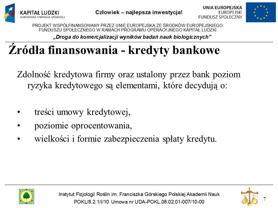 7 Źródła finansowania - kredyty bankowe Zdolność kredytowa firmy oraz ustalony przez bank poziom ryzyka kredytowego są elementami, które decydują o: t