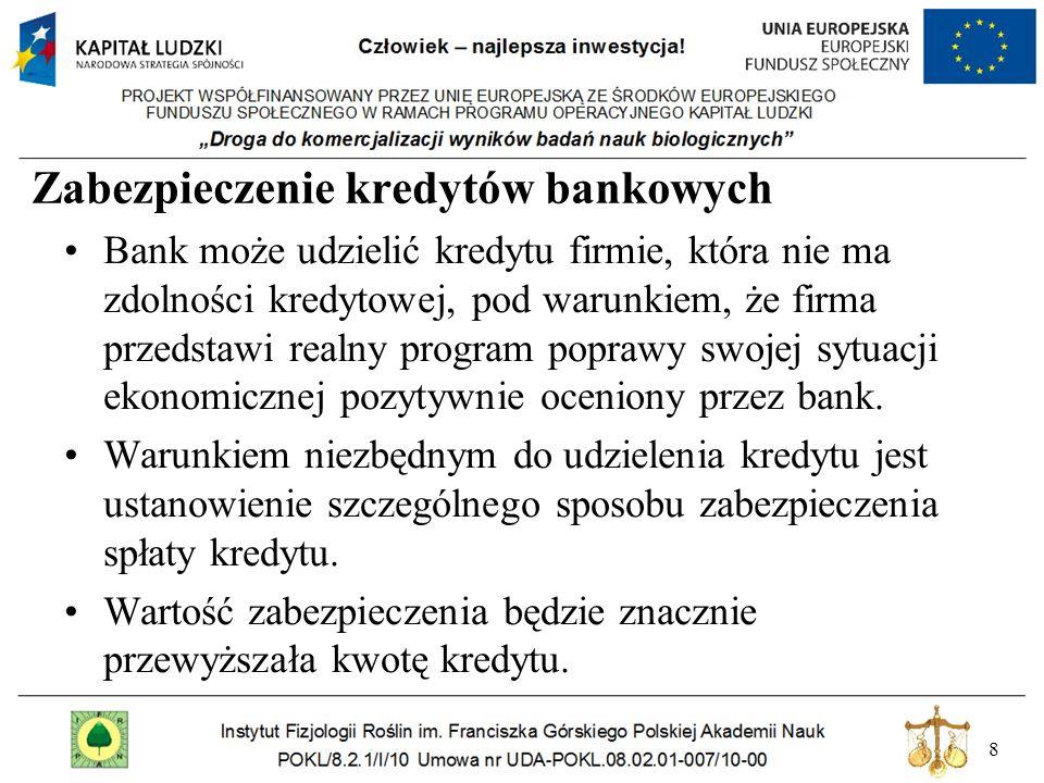 8 Zabezpieczenie kredytów bankowych Bank może udzielić kredytu firmie, która nie ma zdolności kredytowej, pod warunkiem, że firma przedstawi realny pr