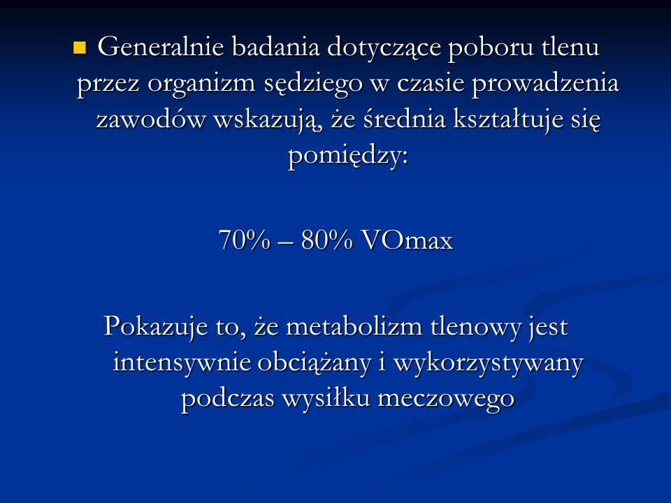 Generalnie badania dotyczące poboru tlenu przez organizm sędziego w czasie prowadzenia zawodów wskazują, że średnia kształtuje się pomiędzy: Generalni