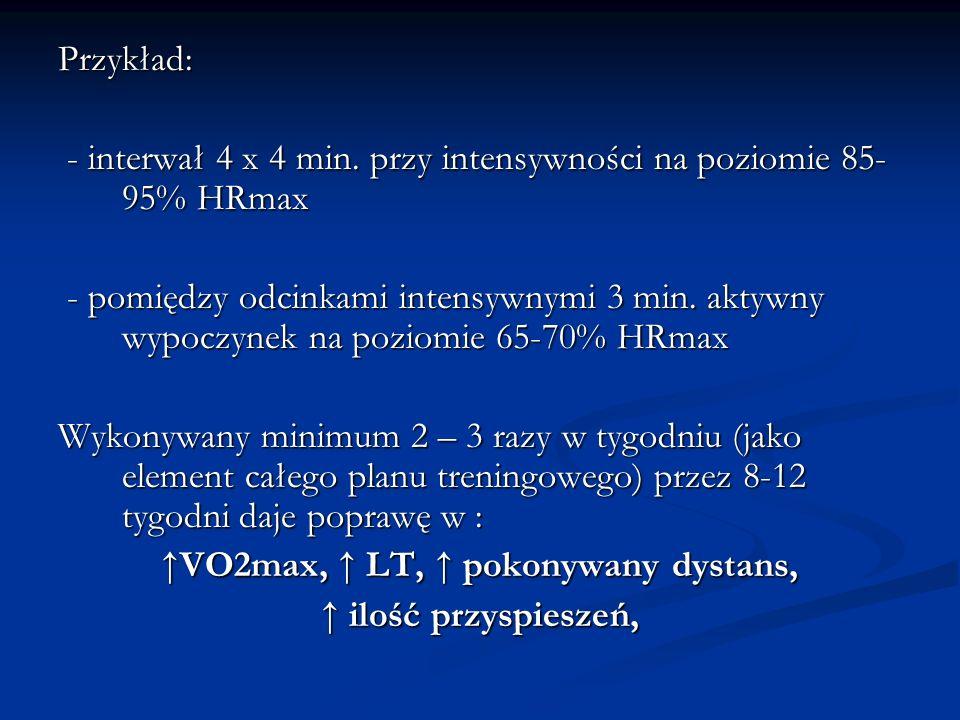 Przykład: - interwał 4 x 4 min. przy intensywności na poziomie 85- 95% HRmax - interwał 4 x 4 min. przy intensywności na poziomie 85- 95% HRmax - pomi
