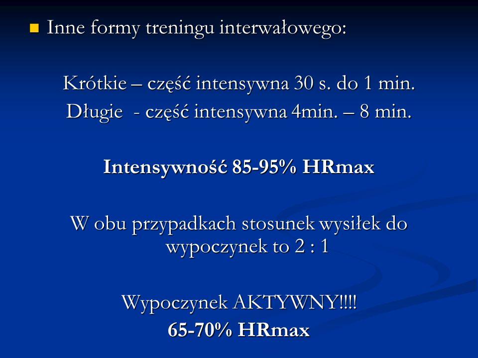 Inne formy treningu interwałowego: Inne formy treningu interwałowego: Krótkie – część intensywna 30 s. do 1 min. Długie - część intensywna 4min. – 8 m