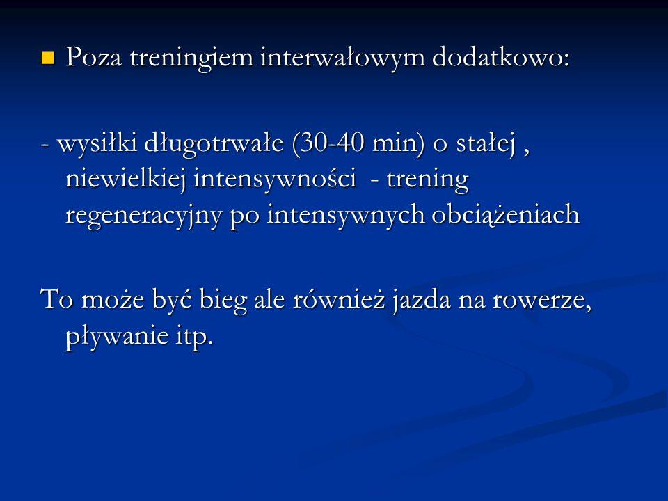 Poza treningiem interwałowym dodatkowo: Poza treningiem interwałowym dodatkowo: - wysiłki długotrwałe (30-40 min) o stałej, niewielkiej intensywności