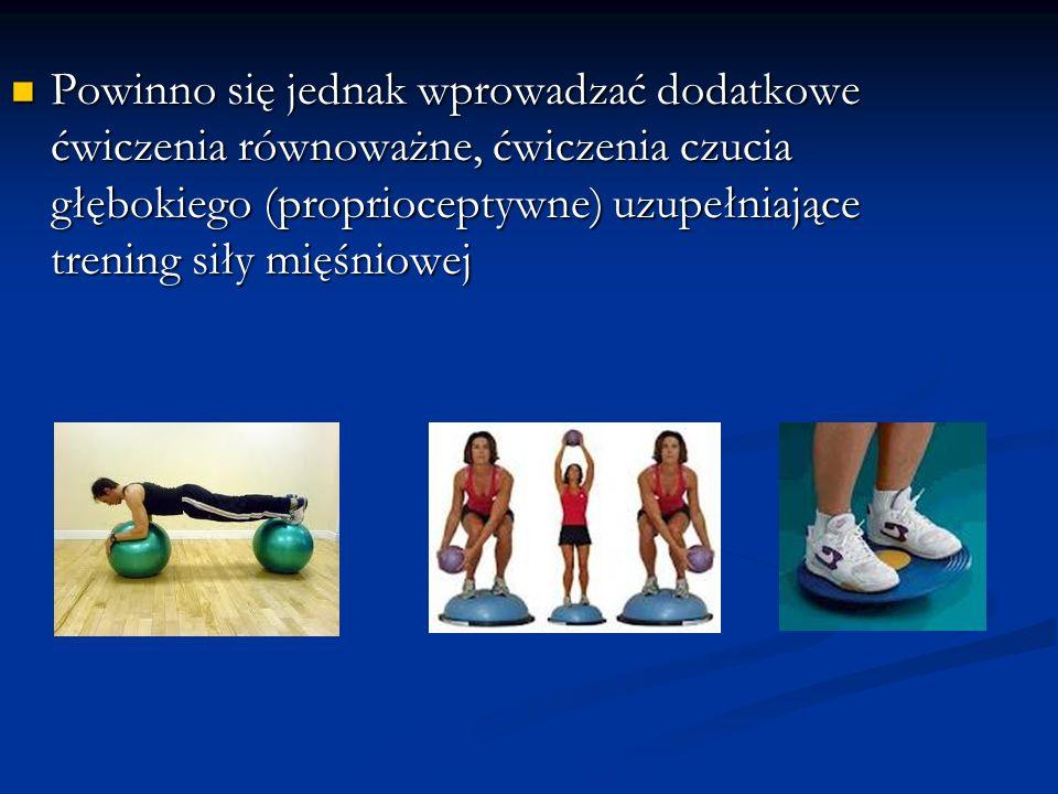 Powinno się jednak wprowadzać dodatkowe ćwiczenia równoważne, ćwiczenia czucia głębokiego (proprioceptywne) uzupełniające trening siły mięśniowej Powi